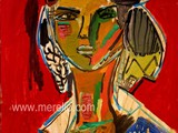 MODERN_ART_GALLERY_CONTEMPORARY_DECO_INTERIORS-.Merello.-Figura_sobre_fondo_rojo_(73_x_54_cm)_Mix_media_on_wood.
