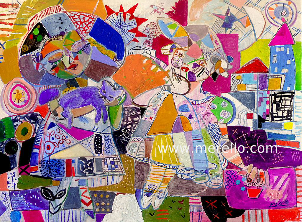 Merello.-Fantasia (97 x 130 cm).MODERN ART. MODERN PAINTING. CONTEMPORARY ART and ARTISTS. INVESTMENT.