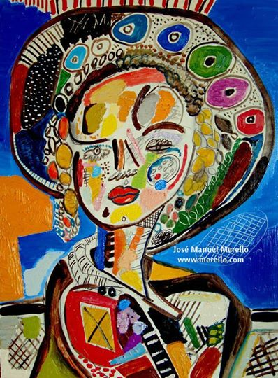 Merello.-nina con pamela oriental.MODERN ART. MODERN PAINTING. CONTEMPORARY ART and ARTISTS. INVESTMENT.